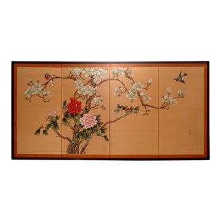 Mid Century Chinese Silk Folding Byobu Screen For Sale