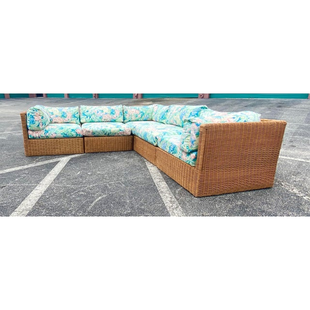 Vintage Coastal Woven Rattan Printed Sectional For Sale - Image 11 of 13