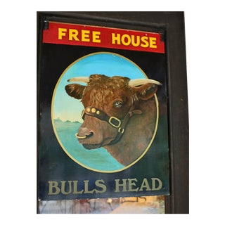 "Vintage Mid Century English Pub Sign for the ""Bulls Head"" For Sale"
