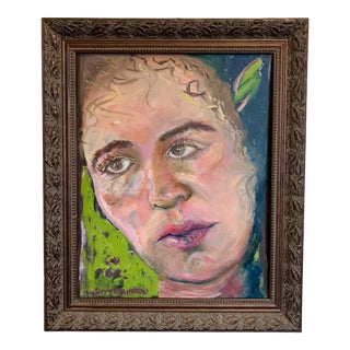 """""""Melancholy"""" Contemporary Portrait Oil Painting, Framed. For Sale"""