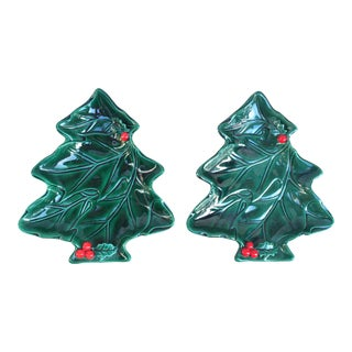 Vintage Lefton Holly & Berries Christmas Tree Dishes - a Pair For Sale