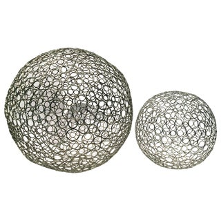 Cool Pair of Artisan Made Wire Sphere Sculptures For Sale