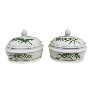 Italian Palm Frond Serving Dish With Lid - a Pair For Sale