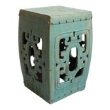 Image of Turquoise Ceramic Garden Stool For Sale