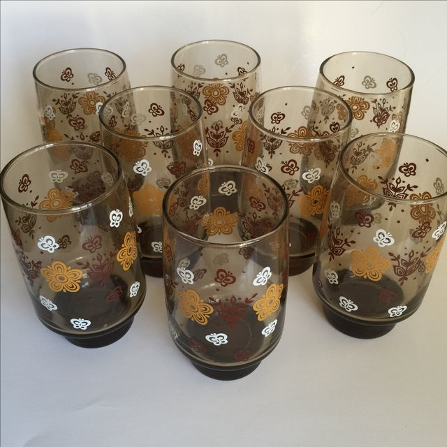 Mid-century Smoky Butterfly Glasses - Set of 8 - Image 3 of 9