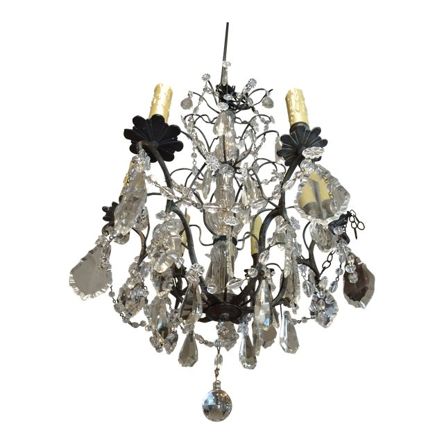 Small Vintage French Crystal Chandelier For Sale