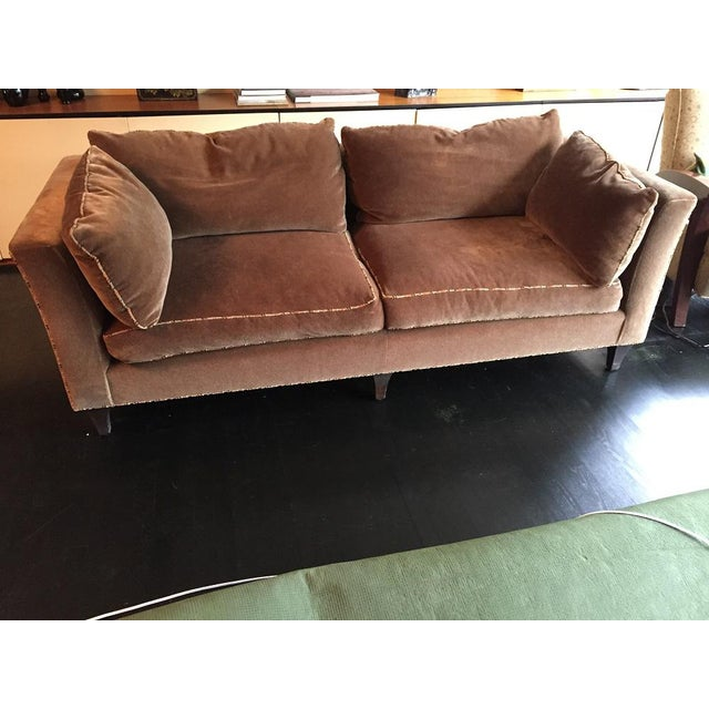Feather Baker Madison Taupe Mohair Sofa For Sale - Image 7 of 8