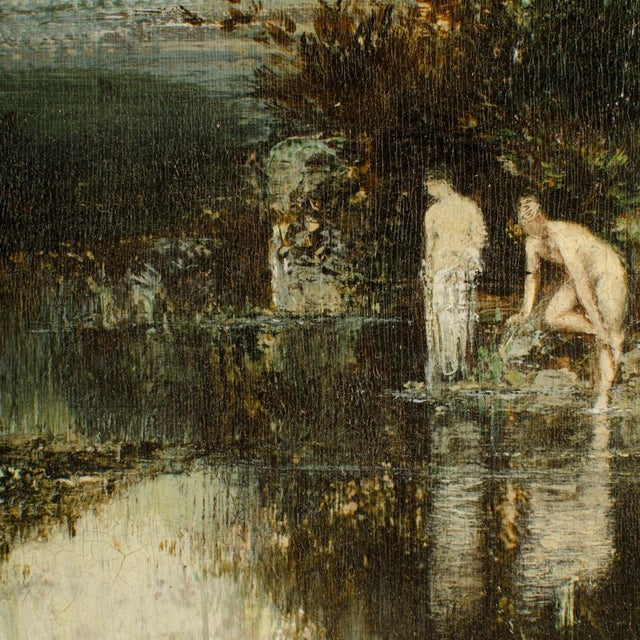 """Canvas 19th Century """"Quick Dip"""" Figurative Oil Painting, Framed For Sale - Image 7 of 13"""