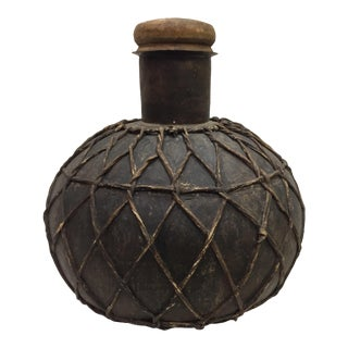Rustic Storage Jar With Leather Strappings For Sale