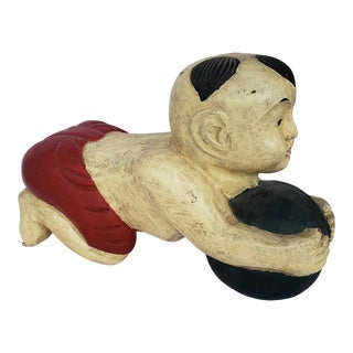 Vintage Carved Wood Baby Buddha Opium Pillow For Sale