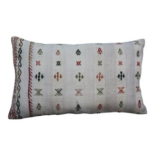 Vintage Boho Lumbar Handmade Cotton Pillow For Sale
