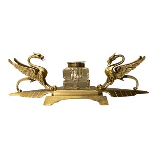 Vintage Art Nouveau Brass and Cut Glass Inkwell Set With Gryphons For Sale