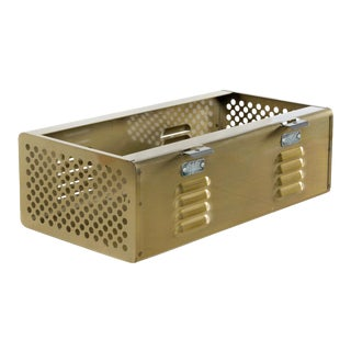 Double Wide Locker Basket in Brass Tone, Custom Made to Order For Sale