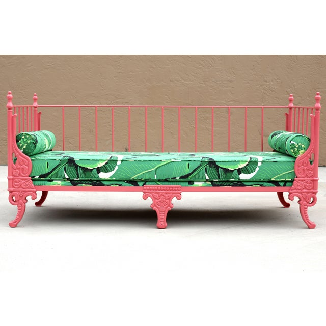 Blush Antique French Iron Daybed - Professionally Restored W/ Dorothy Draper Fabric For Sale - Image 12 of 12