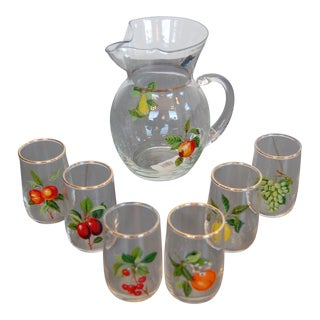 Mid Century Juice Set - Pitcher and 6 Juice Glasses