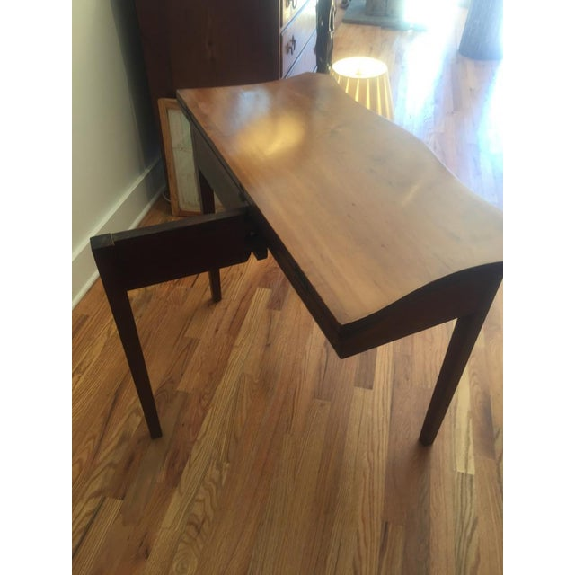 Wonderful serpentine top, one drawer, cherry games table. Hailing from Bucks County, PA. Unusual shape, perfectly useful...