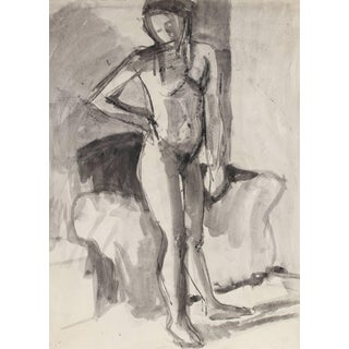 Jack Freeman Monochromatic Figure Study Drawing in Charcoal and Ink, 1978 For Sale
