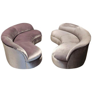 Directional Kagan Style Restored Velvet Biomorphic Curved Sofas For Sale