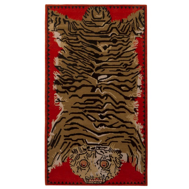 Rug & Kilim's Tiger Pictorial Red Orange and Black Wool Rug For Sale In New York - Image 6 of 6