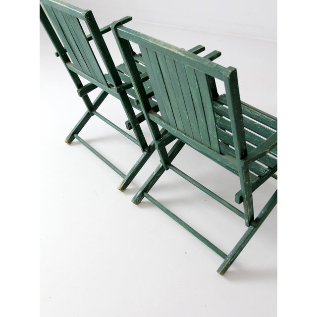 1950s Vintage Wood Folding Chairs in Emerald - A Pair For Sale - Image 5 of 8