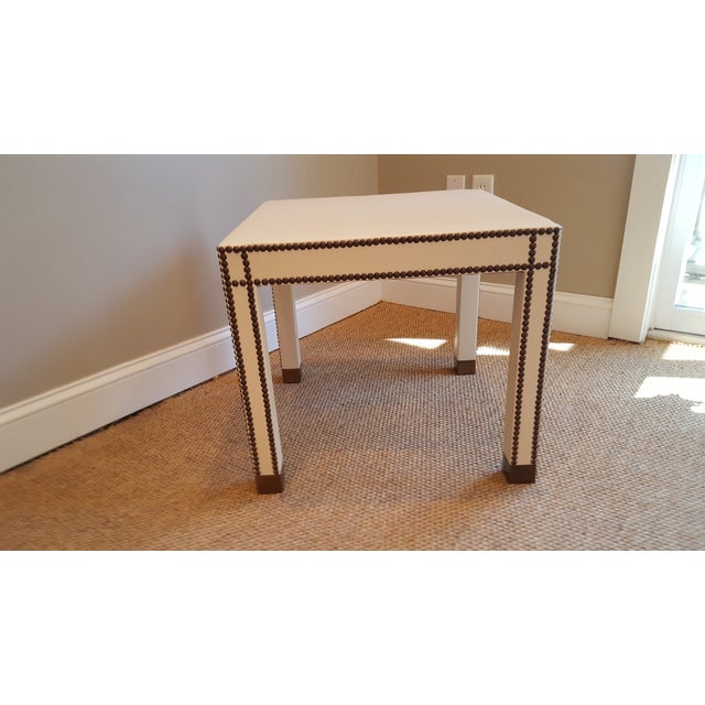 Contemporary Vann Leather Side Table For Sale - Image 3 of 3