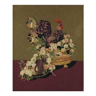 Needlepoint Rooster Still Life