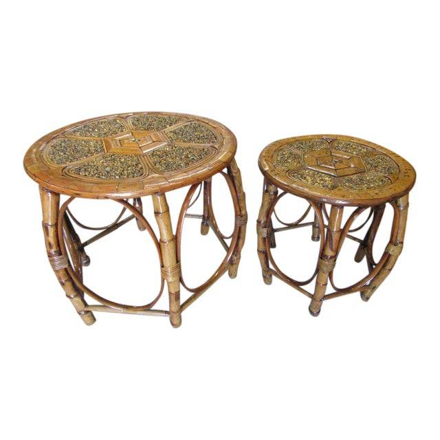 Island Style Drum Tables - a Pair - Image 1 of 10