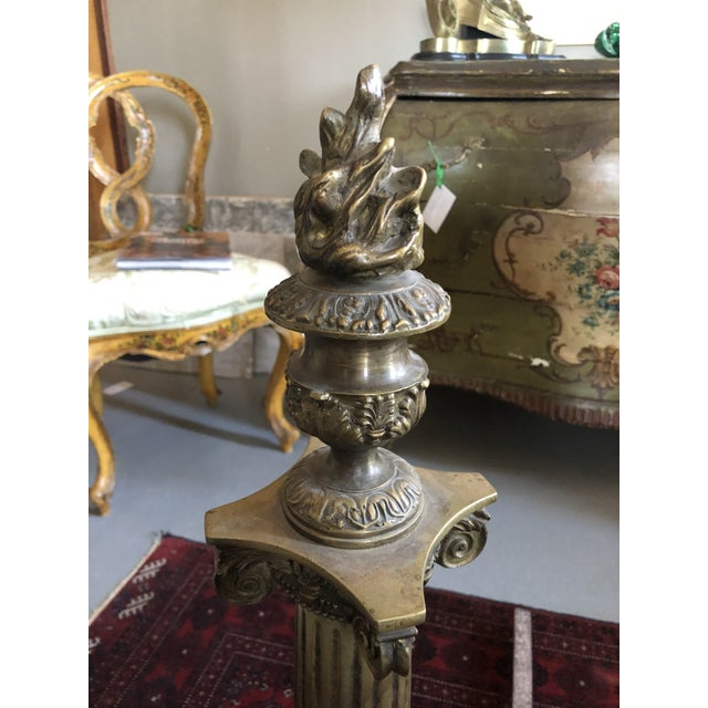 1900 - 1909 C. 1900 Neo Classical Brass Pillar Fireplace Andirons - a Pair For Sale - Image 5 of 13