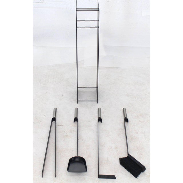 Modern Set of Fireplace Tools Black and Chrome For Sale In New York - Image 6 of 9