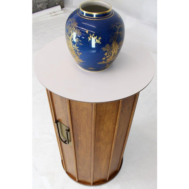 Round Cylinder Shape Pedestal Bar Cabinet Storage Cabinet With Brass Hardware For Sale - Image 4 of 12