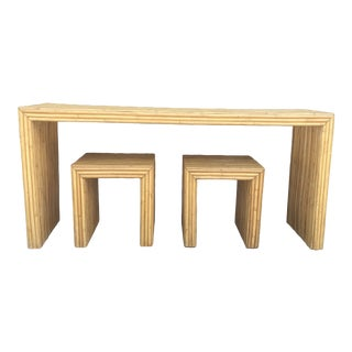 1970s Crespi Style Pencil Bamboo Table and Stool Set - 3 Pieces For Sale