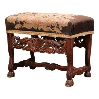 19th Century French Louis XIV Carved Walnut Stool With Needlepoint Tapestry For Sale