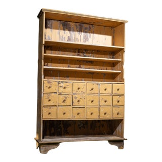 1950s 18 Drawer Apothecary Cabinet With Built in Shelves For Sale