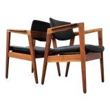 Image of 1960s Vintage Jen Risom Style Gunlocke Walnut Armchairs- a Pair For Sale