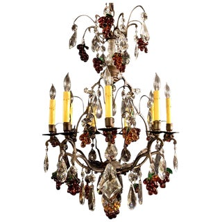 Dark Bronze 9 Lights Chandelier With Crystals and Glass For Sale