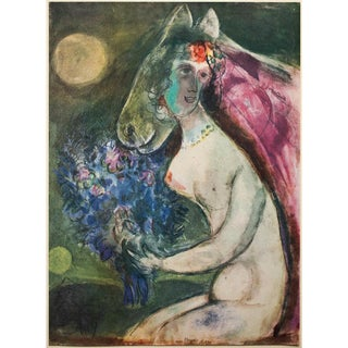 """1947 Marc Chagall """"Moonlight"""", First Edition Period Parisian Lithograph With C. O. A. For Sale"""