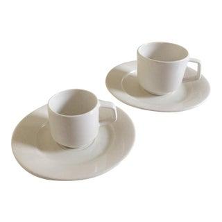 Villeroy & Boch Affinity White Porcelain Cups & Saucers - Set of 4