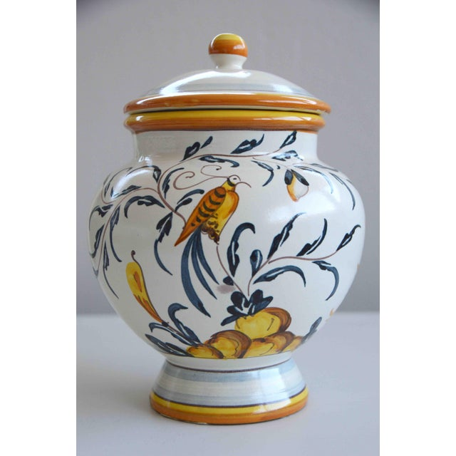 Hand Painted Italian Ceramic Jar With Bird and Lemon Tree For Sale - Image 9 of 9