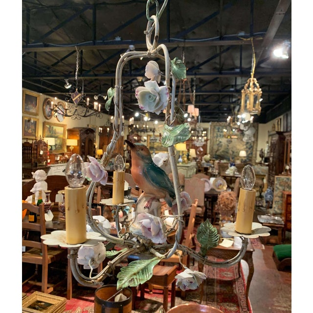 French Painted Chandelier With Porcelain Bird and Flowers For Sale - Image 4 of 10