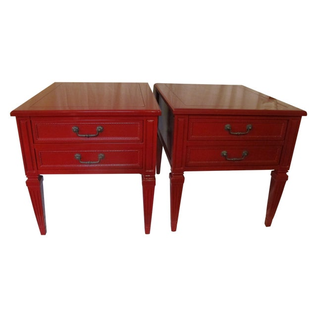 Vermillion Neoclassical 1960s Side Tables - A Pair - Image 1 of 7