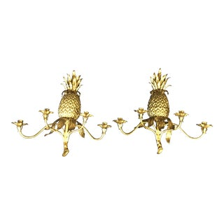 1960s Vintage Gilt Pineapple Scones- A Pair For Sale