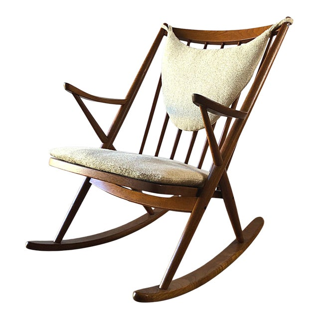 Newly-Upholstered Frank Reenskaug Teak Rocking Chair for Bramin For Sale