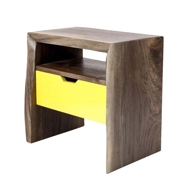 Live Edge Nightstand with Yellow Drawer - Image 1 of 8