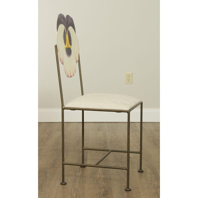 Wrought Iron Hand Painted Flower Back Side Chair For Sale In Philadelphia - Image 6 of 13
