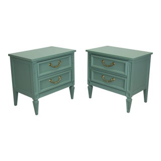 Mid-Century Neoclassical Style Green Nightstands, a Pair