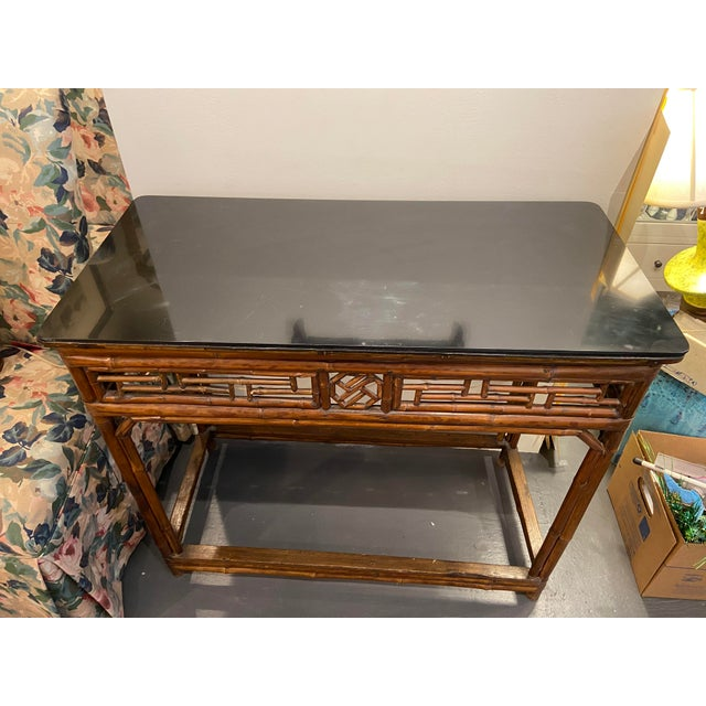 1960s 1960s Boho Chic Bamboo Walnut Console Table For Sale - Image 5 of 9