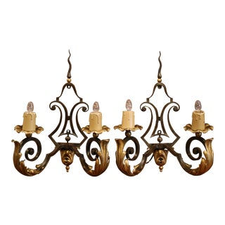 Pair of Early 20th Century French Louis XV Two-Light Painted Iron Wall Sconces For Sale