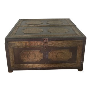 Antique Anglo Indian Brass Engraved Chest For Sale