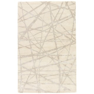Nikki Chu by Jaipur Living Avondale Handmade Abstract White/ Gray Area Rug - 8' X 10' For Sale