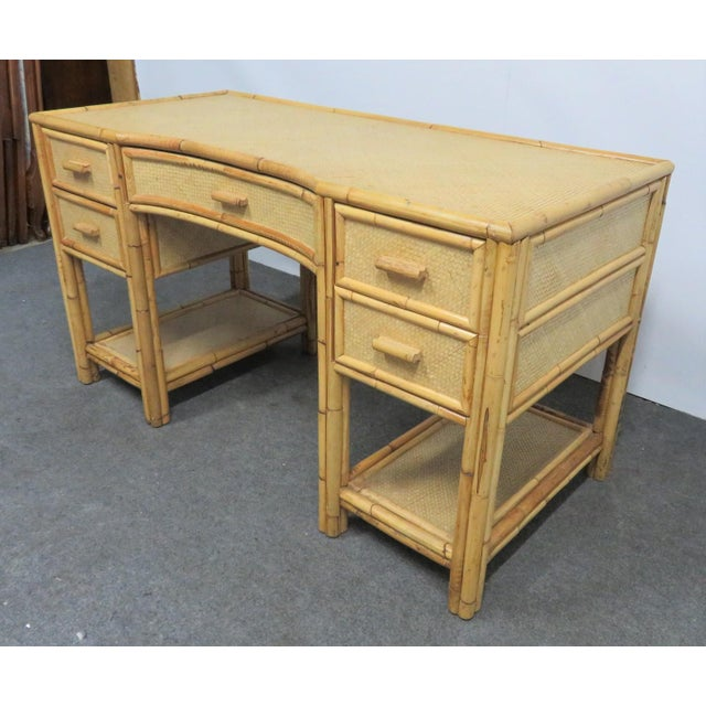 Mid 20th Century Victorian Style Bamboo & Woven Desk For Sale - Image 5 of 7